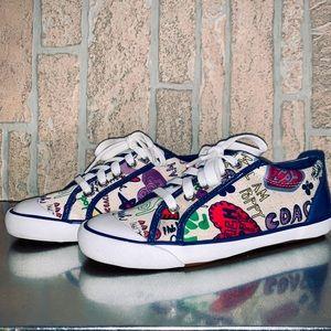 Coach Barrett Poppy Scribble Sneakers Size 7